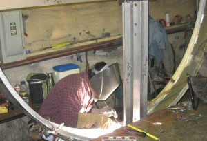 One of our welders working in our shop. We also do onsite welding.